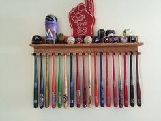 Mini bat display with shelf - 18 mini bats