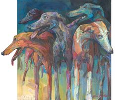 Greyhounds Giclee print of my Collage and Acrylic art. by ArtPooch, $175.00