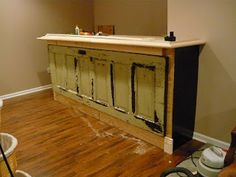 Bar made from antique door ~ I would like this look for a custom island too! Hmmm, maybe out,door bar? Bar Furniture, Furniture Projects, Furniture Makeover, Old Door Projects, Home Projects, Ideas Paso A Paso, Door Bar, Diy Casa, Old Doors
