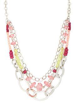 Multi strand Bead & Chain Necklace, 9-0035868194, Multi strand Bead & Chain Necklace Main View P275W