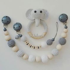 Grey & White Elephant Teether With Matching Pacifier Clip & Pram Chain
