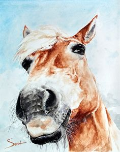 WATERCOLOR HORSE PAINTING - horse art, equestrian decor, horse wall art, farm decor, barn art, horse print, animal art