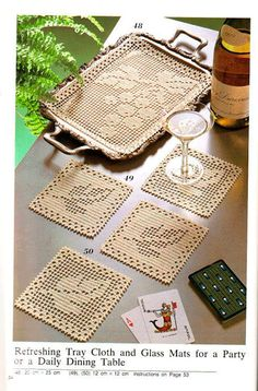 Filet Crochet tray mat and coasters - Grapes and Grape Leaves. Crochet Placemats, Crochet Table Runner, Crochet Doily Patterns, Crochet Squares, Crochet Motif, Crochet Designs, Crochet Doilies, Crochet Coaster, Granny Squares