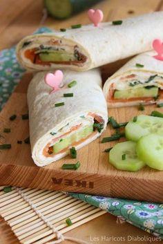 Wraps saumon fumé concombre fromage frais