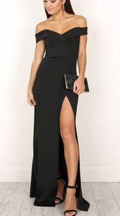 cb0314cf1aea0 Elegant Off-Shoulder Long Black Dress with Slit  BlackDress  Elegant   OffShoulderBlackDress Black