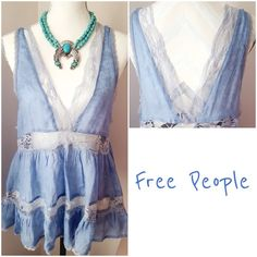 Free People Trapeze Deep V Lace Cami NWT Beautiful cornflower blue lace Cami tank by Free People. Brand new with tags. Deep v in both front and back, oversized fit. Semi sheer, baby doll style. Free People Tops