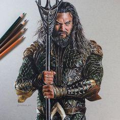 Aquaman, Jason Momoa. Movie Characters Drawings and More. By Rayhan Miah.