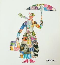 Mary Poppins art work - collage postage stamps