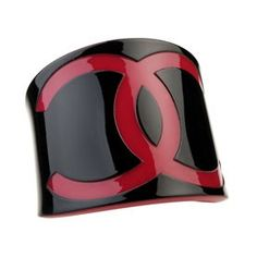 Chanel Replica Black Enamel Cuff Bangle With Red Rims And CC Logo ,$44