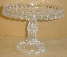 "EAPG Unknown pattern??? Similar plate to ""MASONIC"" pattern cake stand (made by McKee & Bros. 1894) but rim edges are rounded NOT sharp. Pedestal looks just like ""Manhattan"" pattern (by U.S. Glass Co.) approx. 9.5""D x 7""H  Anyone know????"