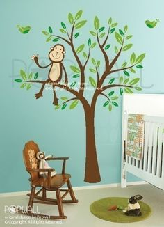 Monkey Sitting on a Tree decal 087 Vinyl Kid Sticker by NouWall, $68.00