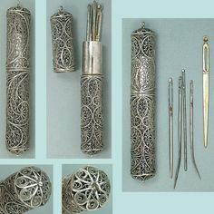 Antique English Sterling Silver Filigree Bodkin / Needle Case * Circa 1790-1800 | eBay