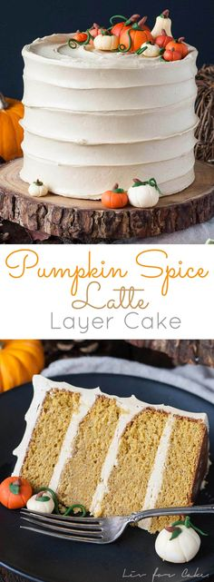 This Pumpkin Spice Latte Cake is your favorite Fall beverage in cake form! Pumpkin spice flavoured cake with an espresso buttercream. | livforcake.com