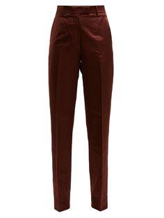 Satin Trousers, Trousers Women, Pants For Women, Designer Trench Coats, Maroon Pants, Romper Pants, Shorts, Fashion Pants, Megan Davis