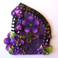 Purple Toadstool Garden Fairy Door , Wild Mushroom Pixie Portal, Miniature Fairy Garden Decor, Tooth Fairy Door Kids Wall Art