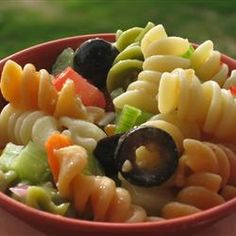 Garden Pasta Salad. This is the way I remember pasta salad looking - adapt to GF!