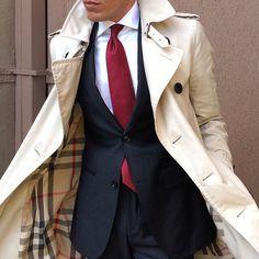 That Burberry trench coat is just fabulous! Men's Fashion | Menswear | Men's Outfit | Shop at designerclothingfans.com