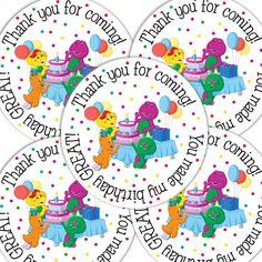 20  2 Inch round Barney Birthday sticker labels party favors. $6.00, via Etsy.