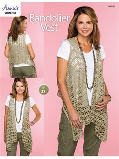 This stylish draped vest is worked end to end in 1 piece with armhole slits. The flowy, waterfall fronts create a flattering and comfortable style. It is worked using 5 skeins of Berroco Weekend worsted-weight yarn in the color Peb. Annie's Crochet, Crochet Vest Pattern, Crochet Shirt, Crochet Woman, Crochet Cardigan, Crochet Patterns, Crochet Vests, Crochet Waistcoat, Black Crochet Dress