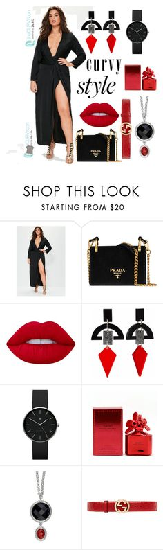 """Untitled #119"" by nancysillustrations ❤ liked on Polyvore featuring Prada, Lime Crime, Toolally, Newgate, Marc Jacobs, Gucci, contestentry, TheCurvyCon and MyDiaStyle"