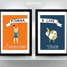 Adventure Time, Fionna and Cake double poster, Print, 2x  A3, A2