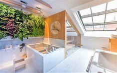 Sauna Lounge Q Klafs instalovaná do podkrovního prostoru domácího wellness Lounge, Sauna, Halle, Wellness, Bathtub, Bathroom, Airport Lounge, Standing Bath, Washroom
