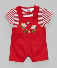Look what I found on #zulily! Red Ladybug Stripe Tee & Overalls - Infant by Peanut Buttons #zulilyfinds