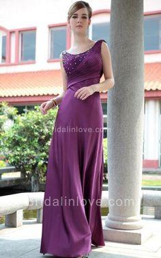 A-line Scoop Floor Length Silk Stretch Satin Prom Dress