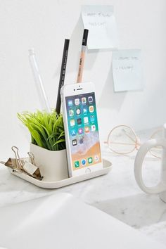 Kikkerland Design Potted Pen Phone Stand - Android Phone Holder - Ideas of Android Phone Holder - Kikkerland Design Potted Pen Phone Stand Desk Phone Holder, Iphone Holder, Iphone Stand, Iphone Phone, Iphone S6 Plus, Minnie Toys, Faux Grass, Little Gardens, Office Phone