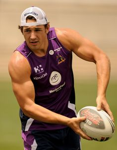 "Billy Slater is an Australian rugby league player, currently playing as a fullback for the Melbourne Storms. Nicknamed ""Billy the Kid,"" Slat. Australian Rugby League, Rugby Funny, Rugby League World Cup, Rugby Men, Billy The Kids, Different Sports, World Of Sports, Sports Stars, Olympic Games"