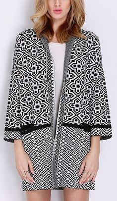 Black White Long Sleeve Geometric Print Cardigan Sweater. Perfect for the fall :)