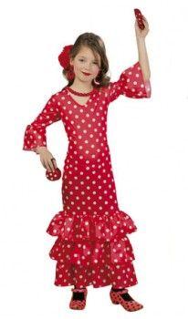 Disfraz de Andaluza Macarena Rojo para niña