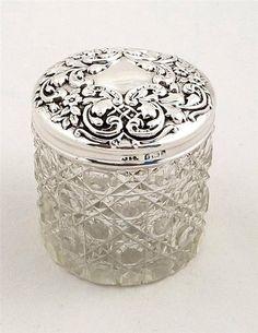 ANTIQUE EDWARDIAN GLASS & HALLMARKED STERLING SILVER VANITY JAR - 1901