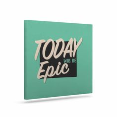 """Juan Paolo """"Epic Day"""" Vintage Teal Canvas Art"""