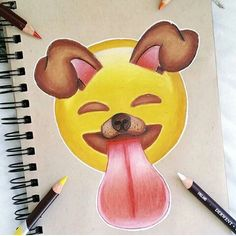 Emoji s draw a dog Cute Easy Drawings, Amazing Drawings, Amazing Art, Emoji Drawings, My Drawings, Social Media Art, Emoji Love, Emoji Wallpaper, Cute Wallpapers
