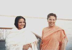 #YogaConnection: Sri Daya Mata, disciple of Paramahansa Yogananda with Ananda Mayee Ma.  You can follow the link to read about their meeting