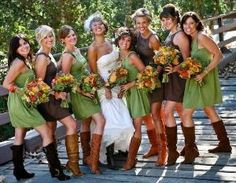 Country / Rustic Chic Wedding: Bridesmaids in green and brown with cowboy boots by faye