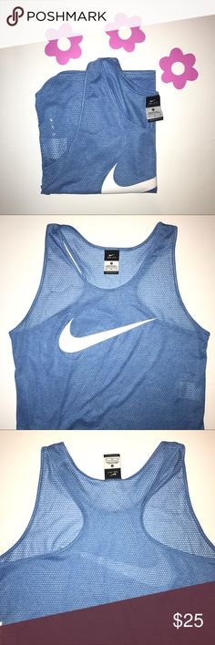 Nike racerback tank size m lightweight racerback tank perfect for a workout.  dri-fit.  Nike logo on front, small pocket on the side.  never worn.  I respond quickly so please don't hesitate to ask questions. Nike Tops