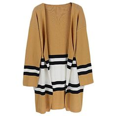 Womens Classic Fit Striped Open Front Knit Cardigan Loose Sweater * For more information, visit image link. (This is an affiliate link) #Sweaters