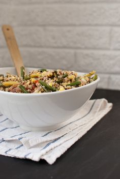blackened green bean and quinoa salad - i dont know what's so special about this dish but it is SO good! i added some leftover chicken to increase the protein.