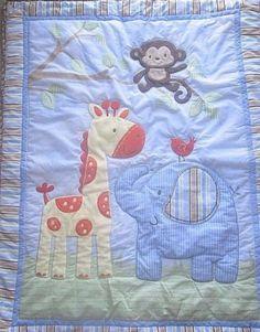 Child-of-Mine-Carters-Zoo-Animal-Crib-Quilt-Giraffe-Monkey-Elephant-Comforter