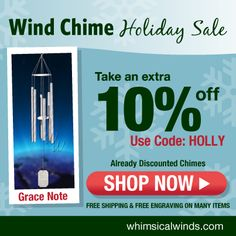 Highest Quality, Precision-Tuned Wind Chimes - Made in the USA! Notes Free, Holiday Sales, Custom Engraving, Wind Chimes, Holiday Gifts, Whimsical, Shop Now, Campaign, Gift Wrapping