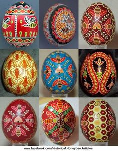 Bees in Pysanka, Happy Easter! To see more Easter and Bees, Like Us At: Historical Honeybee Articles - Beekeeping History  Bees were sometimes depicted on pysanka as a symbol of hard work and pleasantness, and represented all the good insects which should not be killed. In Ukraine, it was the custom to place at least one Pysanka egg beneath each bee hive to insure good production of honey.