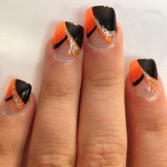 Orange and black nail art!!