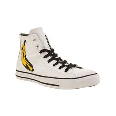 dcedc517ebd044 Converse White   Yellow Chuck Taylor Warhol Banana Hi Trainers ( 50) ❤  liked on