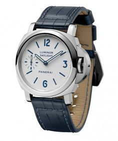The Panerai (PAM00786) Luminor Daylight 8 Days is one in a special, limited-edition set of two new watches, inspired by the originals made for Sylvester Stallone in 1996. It features a 44-mm-diameter case made of AISI 316L stainless steel with a polished finish and comes on blue alligator strap. More @: http://www.watchtime.com/wristwatch-industry-news/watches/panerai-luminor-8-days-set-pays-tribute-to-early-stallone-models/ #panerai #watchtime #menswatches #watchnerd #SIHH2016