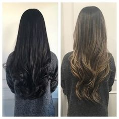 Before & After. Christina came in with virgin black hair & wanted a drastic change. The before picture was taken in natural lighting & the after was taken later in the night! 5 hour session! Thanks for being so patient! Ashy beige balayage highlights. #balayage #lisadinhhairstudio #balayagehighlights