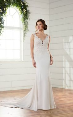 D2332 Sleek Backless Wedding Gown by Essense of Australia