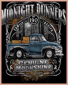 FL&AEVVE Midnight Runners Genuine Moonshine 190 Proof Family Recipe Funny T-Shirt Tee