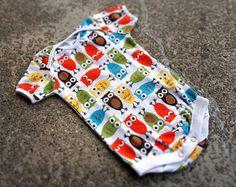 Baby Handmade Onesie - Colorful Owl Print